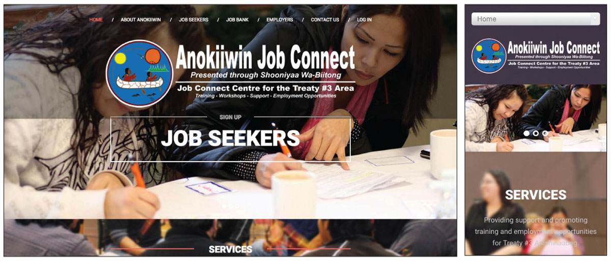 Anokiiwin Job Connect website screenshots