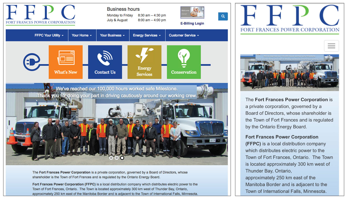 Fort Frances Power Corporation website screenshots