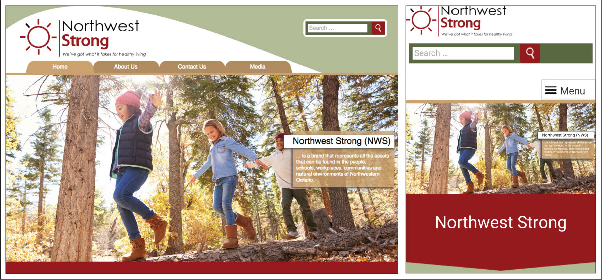 Northwest Strong website screenshots